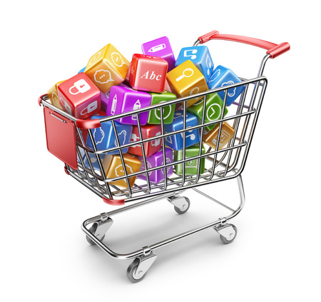 internet shopping: Shopping cart with app icons  3D Isolated on white background