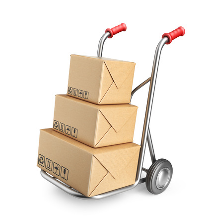 Hand truck with cardboard boxes  3D Icon isolated on white background Archivio Fotografico