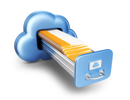 storing: Data storage  Cloud computing concept  3D Icon isolated Stock Photo