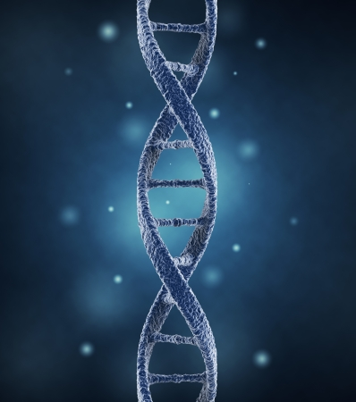 gene on a chromosome: DNA helix molecules  Science concept  3D Illustration Stock Photo