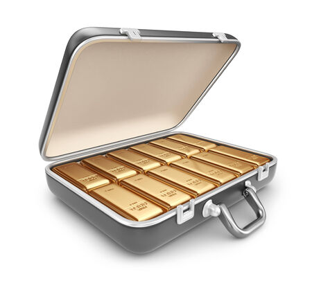 Briefcase full of gold bars. 3D Icon isolated on white background photo
