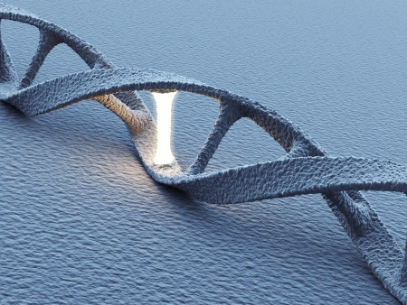 dna strand: DNA helix molecules. Science concept. 3D Illustration Stock Photo