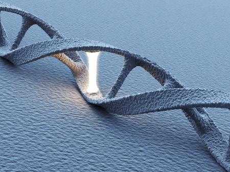 genetica: Molecole elica del DNA. Concetto di scienza. Illustrazione 3D