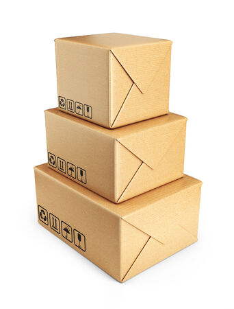 Cardboard boxes. Deliver concept. 3D Icon isolated on white photo