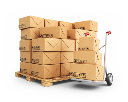storage warehouse: Hand truck with cardboard boxes. 3D Icon isolated on white background