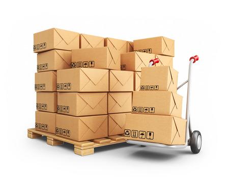 Hand vrachtwagen met kartonnen dozen. 3D icoon op een witte achtergrond Stockfoto