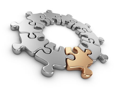 differentiate: Puzzle 3D. Innovate concept. Isolated on white background Stock Photo