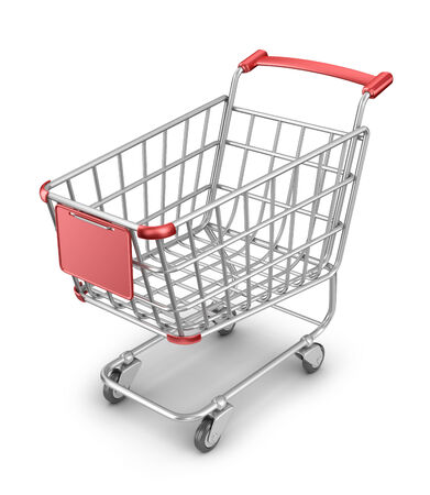 Market shopping cart 3D. Isolated on white background photo