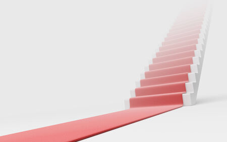 Staircase with red carpet 3D. Concept of success photo