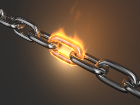 link work: Steel chain link reliabilityin fire 3D. Teamwork