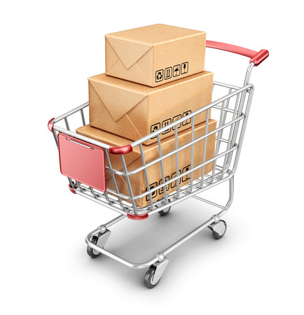 Market shopping cart with cardboard box. 3D Icon isolated  photo