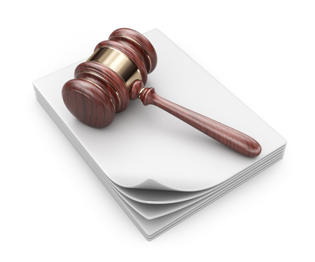 treaty: LAW hammer on documents. Legal concept;  3D Icon isolated