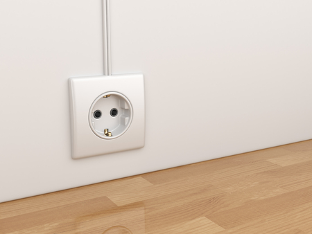 wall socket: Electric power socket on empty wall. 3D Illustration