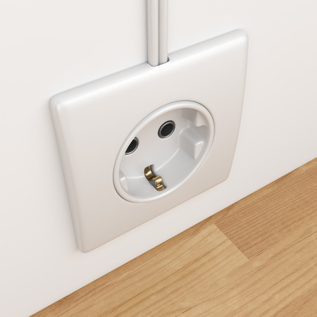 electric power: Electric power socket on empty wall. 3D Illustration