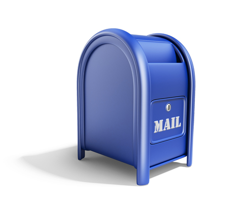 metal mailbox: Blue mail box. 3D Icon isolated on white background