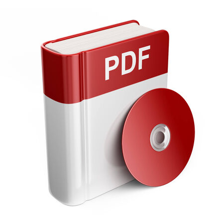 pdf: PDF book download file. 3D Icon isolated
