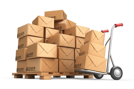 Cardboard boxes on pallet. Cargo, delivery and transportation logistics storage. 3D isolated