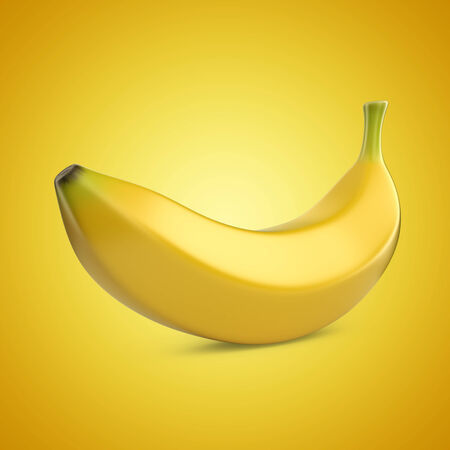 yellow background: Banana fruit on yellow background. 3D illustration Stock Photo