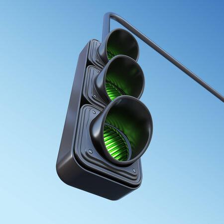warning lights: Green street traffic light on sky. 3D illustration Stock Photo