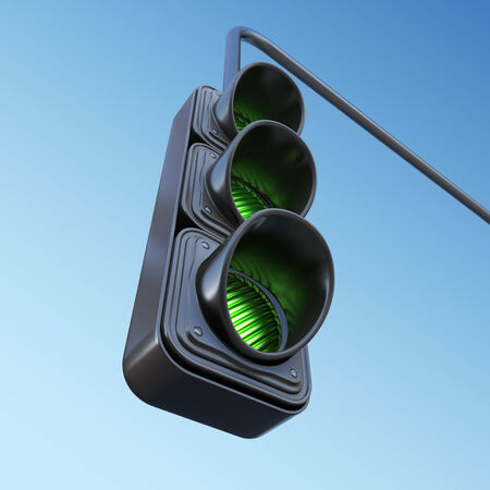 trafficlight: Green street traffic light on sky. 3D illustration Stock Photo