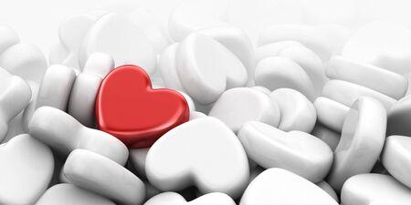 differs: Unique love heart. 3D Illustration
