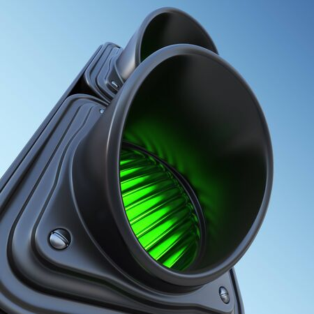 movement control: Green street traffic light on sky. 3D illustration Stock Photo