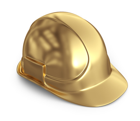 construction equipment: Golden helmet. 3D Icon isolated on white background