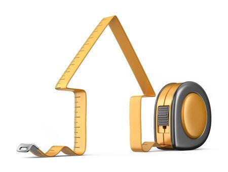 cinta metrica: Casa y cinta de medición 3D. Herramienta de la construcción. Icono aisladas sobre fondo blanco Foto de archivo