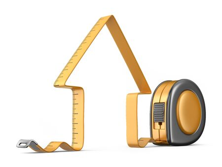 builder: House and measuring tape 3D. Construction tool. Icon isolated on white background Stock Photo