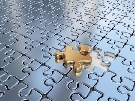 jigsaw puzzle pieces: Puzzle 3D. Innovate, differentiate business background