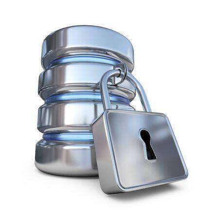 proteccion: Base de datos segura. Proteja los datos de almacenamiento. Icono 3D aisladas sobre fondo blanco