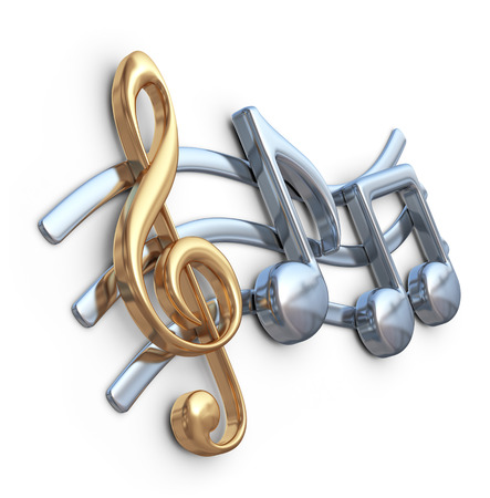 3d music: Metallic music note 3D. Music composition. Isolated on white background