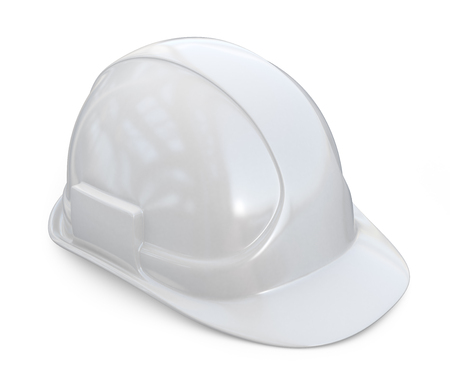 White helmet, hardhat. 3D Icon isolated on white background