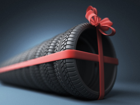 tire shop: Tire with a red ribbon. Gift. 3D Icon isolated on blue background