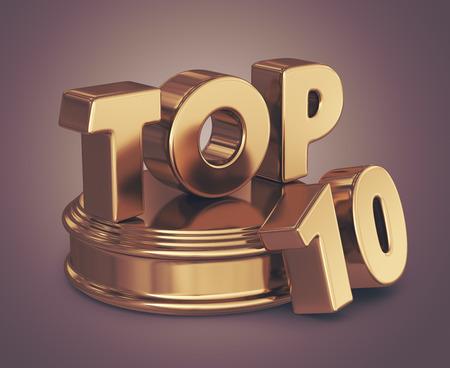Golden top 10 lijst. 3D illustratie Stockfoto