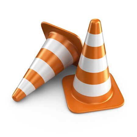 two roads: Traffic cones. Road sign. 3D Icon isolated on white background Stock Photo