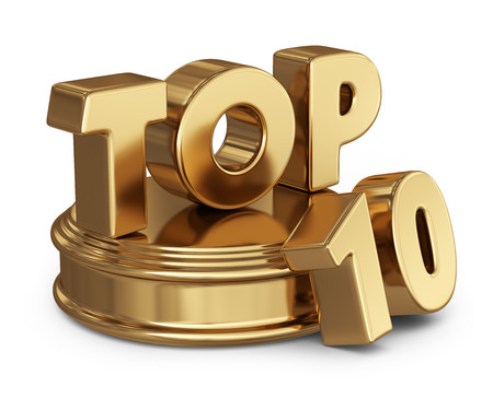 ten best: Golden top 10 list. 3D icon isolated on white background Stock Photo