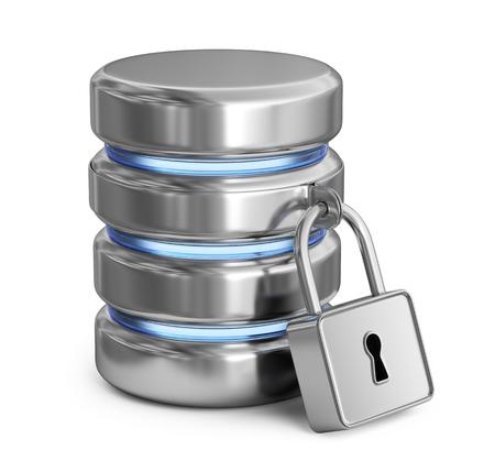 데이터베이스 보안. 저장 데이터를 보호합니다. 3D 아이콘 흰색 배경에 고립