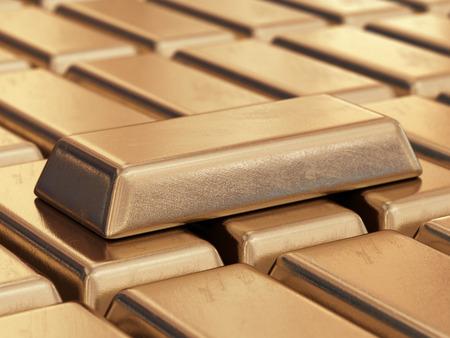 barra de bar: Barras de oro realistas. Ilustración 3D Foto de archivo