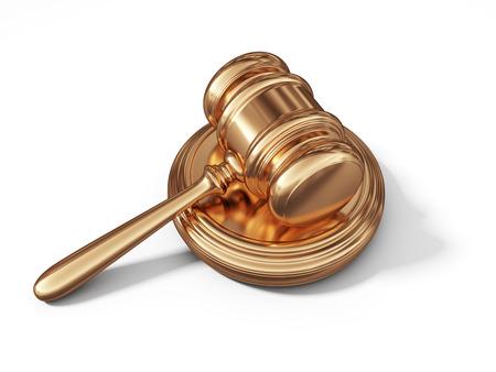Golden wet hamer. Juridisch begrip. 3D op een witte achtergrond