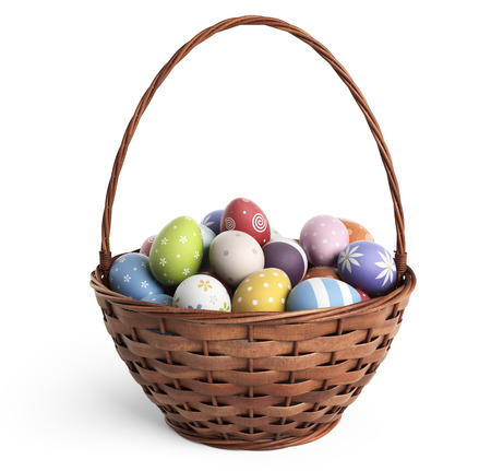gift basket: 3D Easter basket filled with colorful eggs. Isolated on white