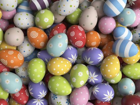 filled: Easter background filled with colorful eggs. 3D illustration