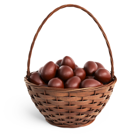filled: Basket filled chocolate eggs. Easter 3D, isolated on white background Stock Photo