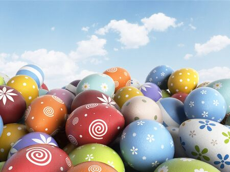 filled: Easter background filled colorful eggs. 3D illustration Stock Photo