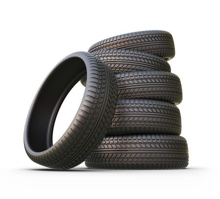 heap: Rubber tire or tyre. 3D icon isolated