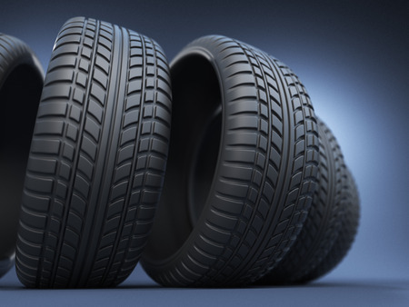 llantas: neumático de caucho del neumático o 3D, en azul Foto de archivo