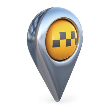 street symbols: taxi target map pointer. GPS locate. 3D icon isolated