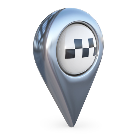 locate: taxi target map pointer. GPS locate symbol; 3D icon isolated