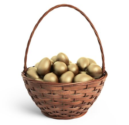 golden eggs: Golden eggs in wicker basket. Easter. 3D icon isolated