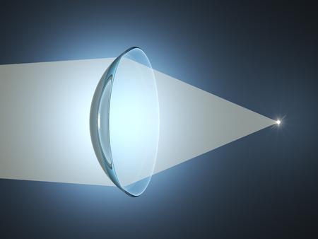 コンタクト レンズは、光をレンズします。物理科学のコンセプトです。3 D イラストレーション